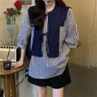 Set: Elbow Sleeve Loose Blouse + Vest