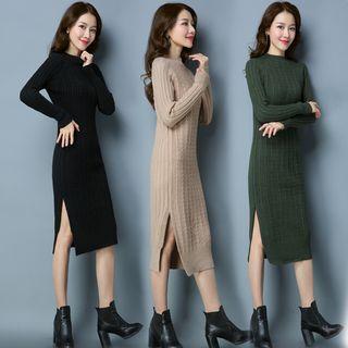 Mock Neck Slit-side Knit Dress