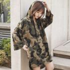 Long-sleeve Hooded Camo Pullover Dress