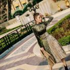 Long-sleeve Velvet Pleated Dress