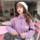 Plaid Long-sleeve Shirt Purple - One Size