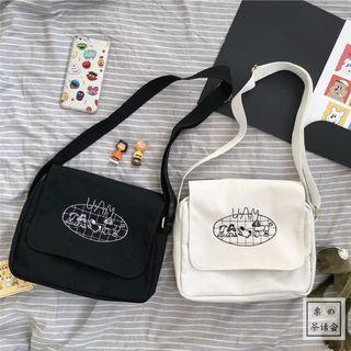 Embroidered Canvas Crossbody Messenger Bag