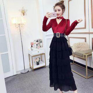 Long-sleeve Mock Neck Velvet Panel Midi A-line Tiered Dress