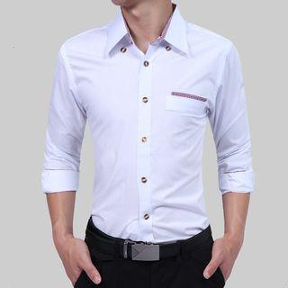 Long-sleeved Open-front Panel Slim Shirt