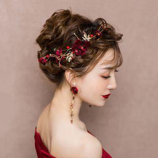Wedding Rhinestone Fabric Hair Clip Side Clip & 1 Pair - Clip On Earring - One Size