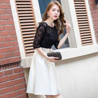 Elbow-sleeve Lace Panel Bow A-line Dress