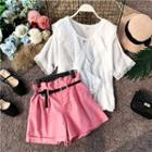 Set: Bell-sleeve Chiffon Blouse + Wide Leg Shorts