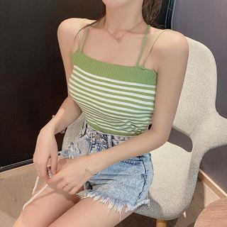 Double Strap Striped Knit Camisole