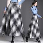 Woolen Plaid A-line Maxi Skirt