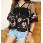 Set: Elbow-sleeve Floral Chiffon Top + Camisole