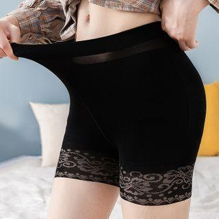 Set Of 3 Pairs: Lace Paneled Tights Set - As Shown In Figure - One Size