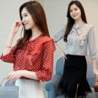 Dotted 3/4-sleeve Chiffon Blouse
