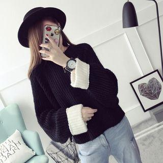 Contrast Cuff Chunky Knit Sweater