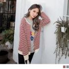 Buttoned Striped Cardigan