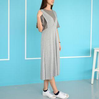 V-neck Suspender Dress Gray
