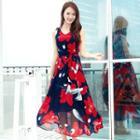 Floral Sleeveless Maxi Chiffon Dress