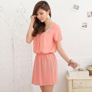Gathered-waist Beaded Dress