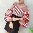 Striped Tie-sleeve Blouse