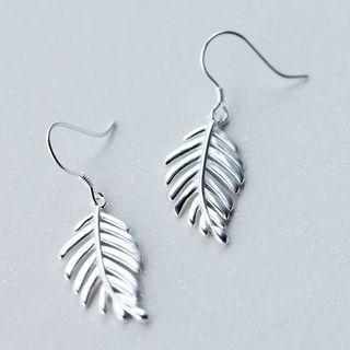 925 Sterling Silver Leaf Earrings Silver - One Size