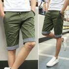 Drawstring-waist Cuffed Shorts