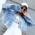 Ripped Cropped Denim Jacket Light Blue - One Size