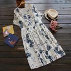 Short-sleeve Printed Midi Dress