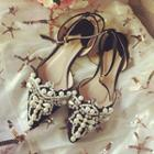 Embellished Ankle Strap Pointy Flats