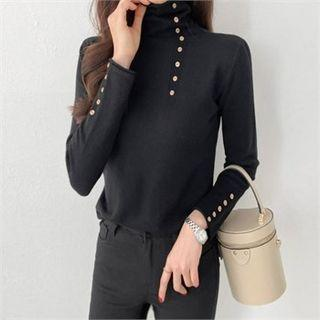 Turtle-neck Buttoned Knit Top