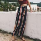 Striped Slit Wide-leg Pants