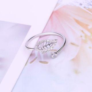 925 Sterling Silver Rhinestone Leaf Open Ring White - One Size