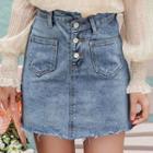 Asymmetrical Washed Denim Skirt