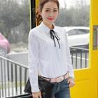 Tie-neck Lace Panel Blouse