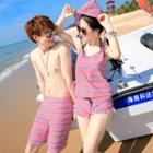 Couple Matching Striped Bikini / Bottom / Cover-up / Beach Shorts / Set