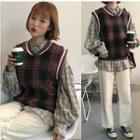 Plaid Shirt / Knit Vest