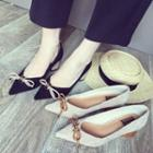 Bow Accent Pointed Block Heel Pumps