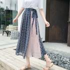 Pleated Printed A-line Midi Skirt