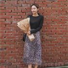Elasticized Waist Long Leopard Skirt Navy Blue - One Size