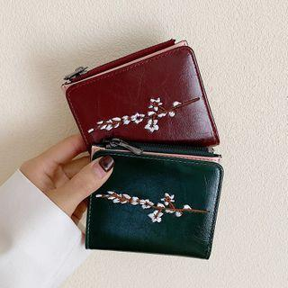 Flower Embroidered Faux Leather Wallet