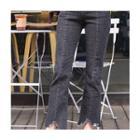 Band-waist Frey-hem Jeans