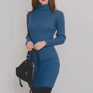 Turtleneck Long-sleeve Knit Dress Blue - One Size