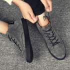 Genuine-leather Stitched Lace-up Sneakers