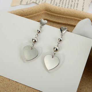 Drop Heart Earring / Clip-on Earring