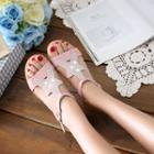 Genuine-leather Rhinestone Wedge Sandals