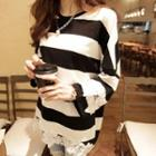 Crochet Trim Striped Long Sleeve T-shirt
