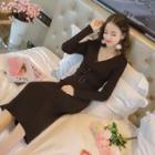 Ribbed Knit V-neck Midi Dress