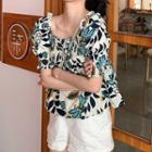 Short-sleeve Floral Top White & Blue - One Size