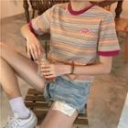 Striped Embroidered Short-sleeve T-shirt As Shown In Figure - One Size