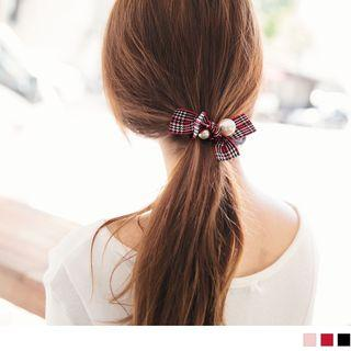 Plaid Ribbon Beaded Hair Tie