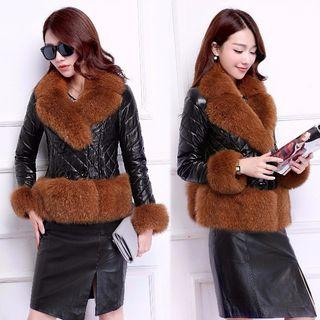 Furry Trim Faux Leather Quilted Coat