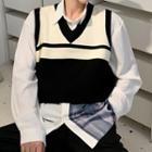 V-neck Two-tone Cropped Knit Vest White - One Size